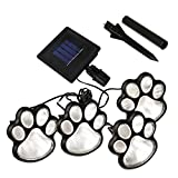 LED Paw Print Solar Lights, Set of 4 Dog,Cat,Puppy Animal Garden Lights Paw Lamp for Pathway,Lawn,Yard,Outdoor Decorations-Solar Paw(White)