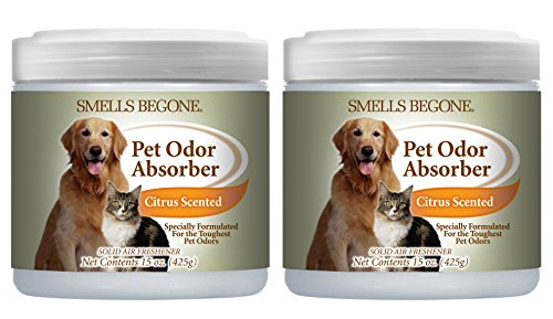 Smells Begone Air Freshener Pet Odor Absorber Gel - Made with Natural Essential Oils - Absorbs and Eliminates Odor in Pet Areas, Bathrooms, Cars, Boats (15 Ounce) (Pet Citrus Scent 2 Pack)