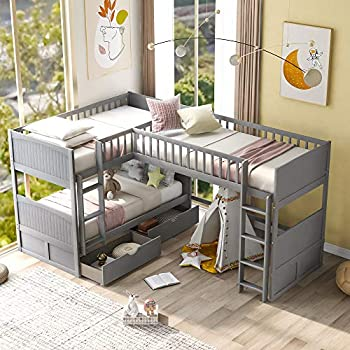 Twin Over Twin Bunk Bed with A Loft Bed  L-Shaped Corner Bunk Bed Frame Platform Bed with 2 Drawers  Full Length Guardrails and 2 Flat Ladder for Kids Adult,Teens  Grey