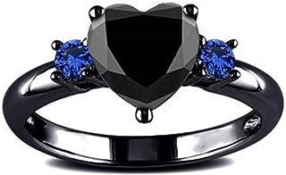 Anillo de compromiso, anillo de boda para mujer, diseño de corazón negro elegante de YouCY