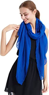 LMVERNA Women's Long Scarf Solid Color Large Sheer Shawl Wraps for Evening