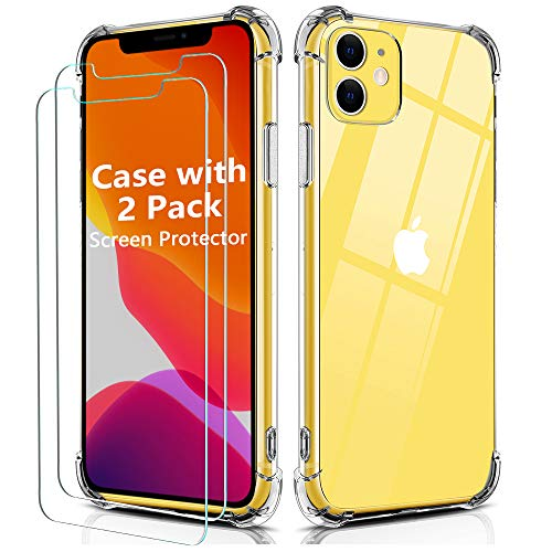 BELONGME Compatible with iPhone 11 Case,Tempered Glass Screen Protector [2Pack] with Shockproof Crystal Clear Case for iPhone 11 6.1 inch.