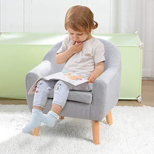 Babyland Einzel-Sofa Sessel, Kindersessel, mit Massivholzstruktur und Leinenstoff für Kinder (blaugrau)