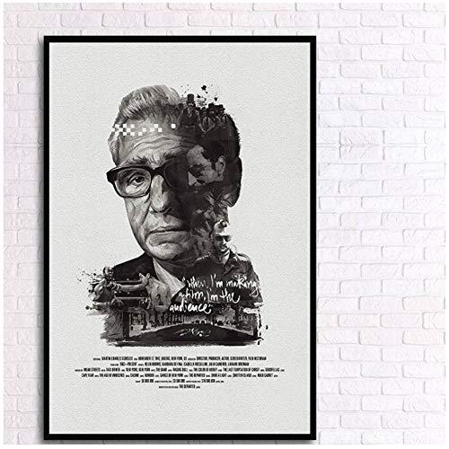 Generic Martin Scorsese Schwarz Weiß Retro Poster Berühmte Regisseur Leinwand Malerei Ungerahmt Drucken Bilder für Zuhause Wohnzimmer Decor-50x70 cm-Kein Rahmen