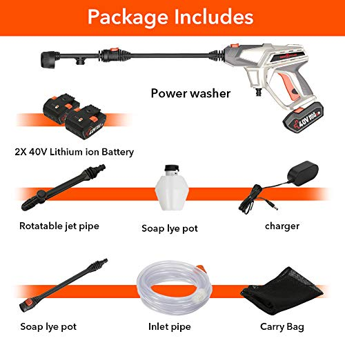 ROCKPALS Cordless Pressure Washer, 2 x 40V Batteries Max 870 PSI Power Washer with Accessories, Portable Power Cleaner with 6-in-1 Adjustable Nozzle, Suitable for Washing Cars/Fences/Siding