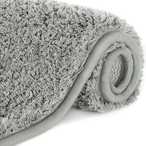 Lifewit wasserabsorbierende Badematte, rutschfeste antibakterielle Duschmatte aus Gummi, Mikrofaser-Badezimmermatte, Grau, 60 x 40 cm