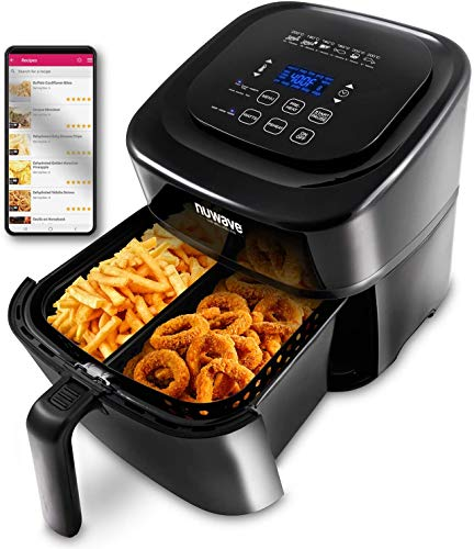 NuWave Brio 6-Quart Air Fryer with App Recipes (Black) includes basket divider, one-touch digital controls, 6 easy presets, wattage control, and advanced functions like SEAR, PREHEAT, DELAY, WARM and more (NEW UPDATED 2020 MODEL)