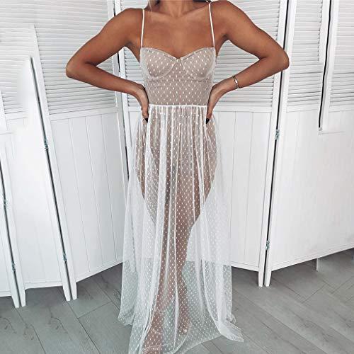 junengSO Women Dress, Womens Summer Sleeveless Sheer Mesh Patchwork Maxi Dress Polka Dot Print Spaghetti Strap Long Split High Waist Cocktail Party Beachdress