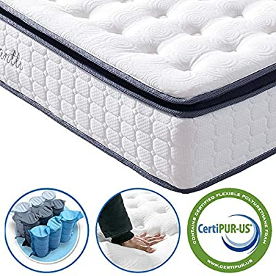 Vesgantti 10.6 Inch Pocket Sprung Mattress with Breathable Foam and Individually Wrapped Spring - Medium, Upgraded Pillow Top Collection