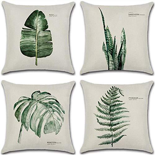 Juego de 4 fundas de cojín con diseño de hojas verdes y palmeras tropicales, cojines decorativos, cojines para el sofá, cojines decorativos, almohadas, fundas para cojines, Palmen, 45 x 45 cm