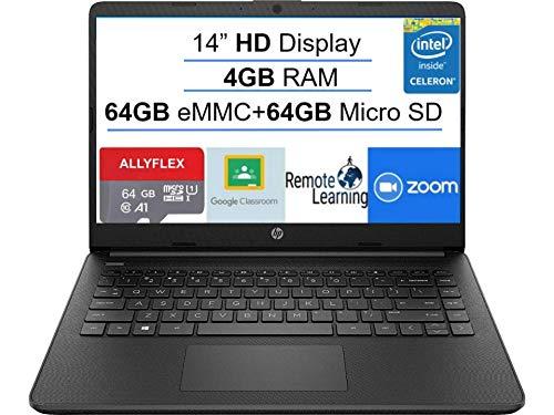 Newest HP 14' Laptop Computer, Intel Celeron N4020 up 2.8GHz, 4GB RAM, 128GB Space(64GB eMMC+64GB Micro SD), WiFi, Bluetooth 5, HMDI, Type-C, Webcam, Black, Win 10 S,AllyFlex MP, Online Class Ready