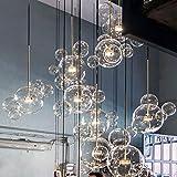 RUCIEDG Lampadario A Sfera A Bolle, Lampadario A LED A Sfera in Vetro Trasparente in Stile Nordico Lampadario A Sospensione A Luce di Grande personalità (Size : 6 Balls)