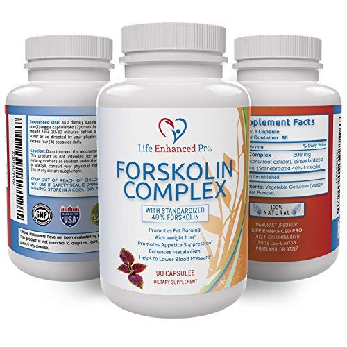 100% Pure Forskolin Extract 300MG – 40% Standardized for Weight Loss, Coleus Forskohlii Diet Supplement, Belly Fat Carb Burner Pills for Women + Men, Slim Trim Lose Belly Buster – 90 Vegan Capsules