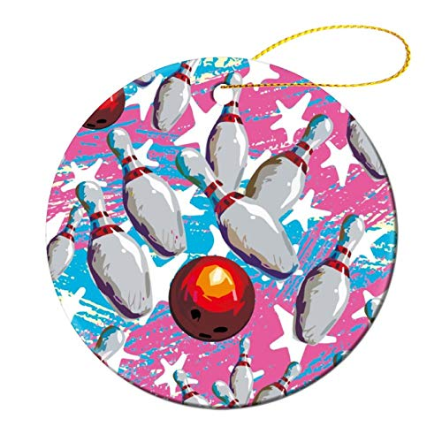 Jeartyca Christmas Ornaments Bowling Ball Ceramic Round Christmas Tree Hanging Keepsake 3 Inches