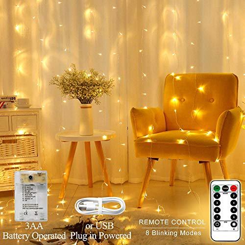 AmaHome Luces LED De Cortina 3Mx3M 300 Ventana Luces De Carámbano Impermeable Luces De Hadas Decoración para Interior Casa Jardín Habitación USB De Pilas 8 Modos Control Remoto