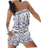 Monos Corto Mujer Verano Peto Impresión Flores Boho Chic Pantalones Siameses Sin Tirantes Jumpsuit Playsuit Bodysuit Rompers Clubwear - Landove