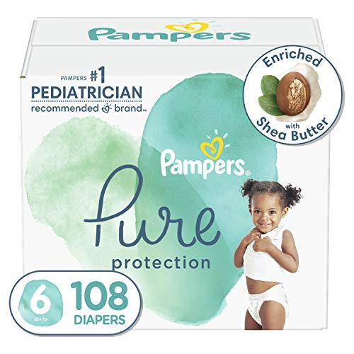 Diapers Size 6, 108 Count - Pampers Pure Protection Disposable Baby Diapers, Hypoallergenic and Unscented Protection, ONE Month Supply (Packaging May Vary)