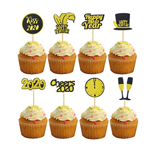 Amosfun 32pcs Happy New Year Cake Toppers 2020 New Years Eve Cupcake Topper Food Toothpick for 2020 New Years Christmas Party Decors
