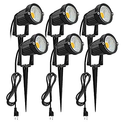 Outdoor LED Landscape Spotlight, Romwish 5W 120V AC LED Spot Light with Metal Ground Spike, 3000K Warm White, Plug and Play, IP65 Waterproof for Garden, Yard, Lawn, Flag Light, Outdoor Decora- 6 Pack
