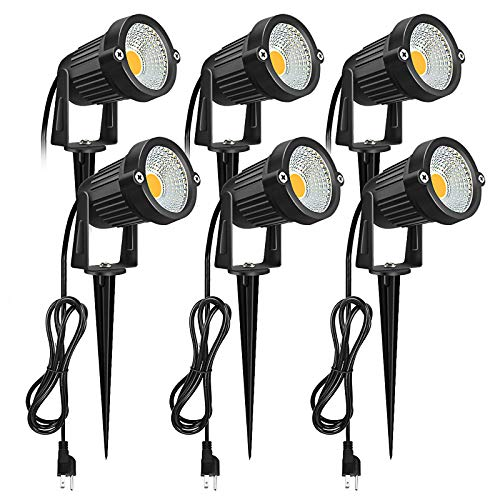 Outdoor LED Spotlight, Romwish 5W 120V AC LED Landscape Light with Metal Ground Spike, 3000K Warm White, IP65 Waterproof for Garden, Yard, Lawn, Flag Light with US Plug - 6 Pack