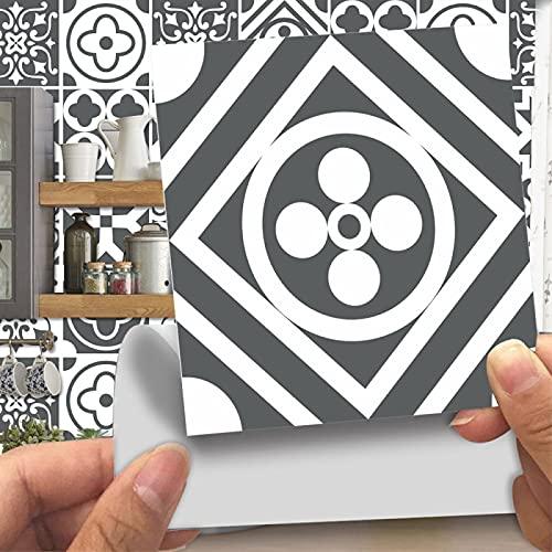 CACAIMAO Pegatinas De Azulejos De Patrón Retro De Simulación, Pegatinas De Suelo Gruesas Resistentes Al Desgaste, Pegatinas De Pared Decorativas De Mosaico 20 Piezas 10cm*10cm