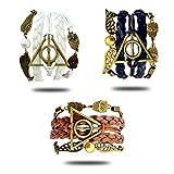 YouU 3 Piezas Reliquias de la Muerte Logo-Espía Hedwig-Colgante alas 3 en 1 Pulsera Hecha a Mano-Negro, Blanco y Gris