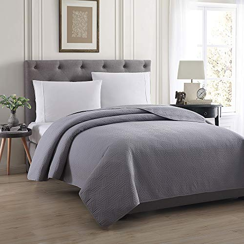 Fantastic Prices! Bourina Reversible Quilt Bedspread and Coverlet 90 x 90 Microfiber Comforter-Ful...