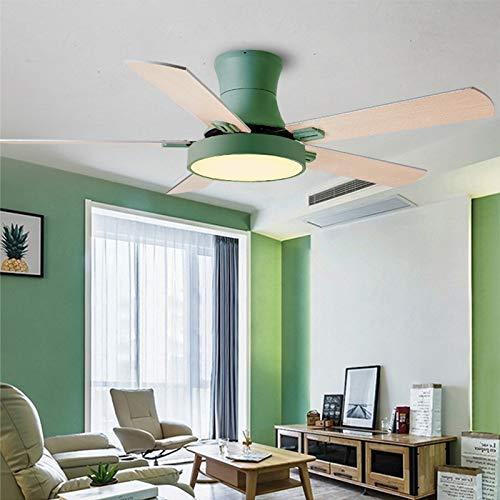 L-WSWS Luz del ventilador de techo 52 pulgadas Moderno Techo Ventilador de ventilador con luces Control remoto Ventilador Lámpara Dormitorio Decoración Aire Enfriamiento Cinco Hoja (Blade Color : 2)