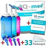 iQ-med Nasendusche 500ml + 33x Salz + Rezeptbuch + 4 Aufsätze (rosa)