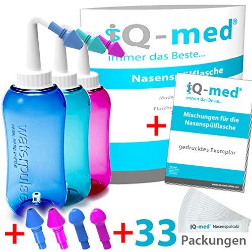 iQ-med Nasendusche 500ml + 33x Salz + Rezeptbuch + 4 Aufsätze (türkis)