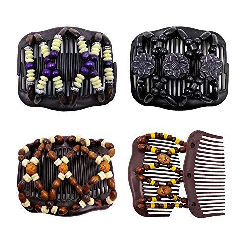 4 Stück Vintage Perlen Magie Stretch Haarklammer,Haarspangen Dehnbar,Doppel Kamm Haar Clips, Haarschmuck für Damen (Stil 4)