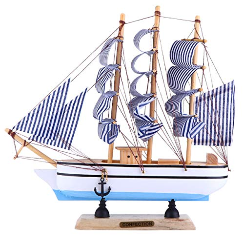 Homoyoyo Velero de Madera Modelo Miniatur Barco 3D Mini Velero Modelo Decoración Vintage Mesa Náutica Centro de Mesa para Oficina en Casa 24Cm