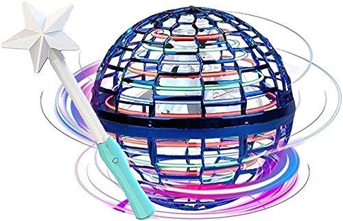 Flynova Pro Rotación y Habilidades infinitas UFO Flying Toy Manual Drone Niños Adultos Interior Outdoor Flying Ball (Color : Blue, Size : B)