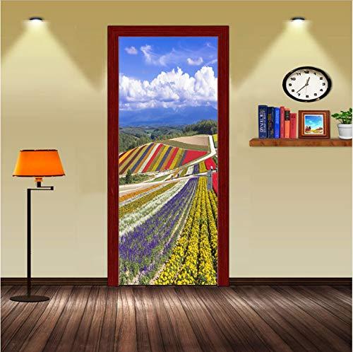 Preisvergleich Produktbild xxsongue Pastoral Flower Fields Garden Scene Door Wall Art Sticker Vinyl Decal 3D Wall Door Stickers DIY Mural Bedroom Vinyl