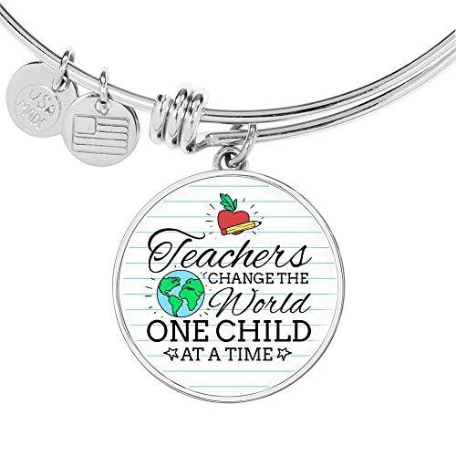 Express Your Love Gifts Teacher - Pulsera de acero inoxidable y oro de 18 quilates