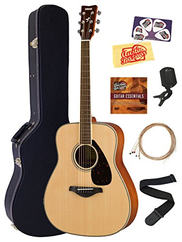 Yamaha FG820 Solid Top Folk Acoustic Guitar - Natural Bundle with Hard Case, Tuner, Strings, Strap, Picks, Austin Bazaar Instructional DVD, and Polishing Cloth