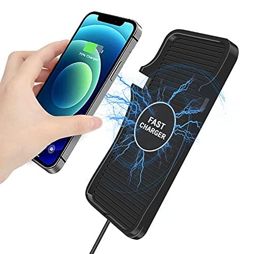 Wireless Charging Pad Car 15W 10W 7.5W Q Fast Car Wireless Charger Pad Stand Station Mat, Phone Holder Car Wireless Charger Mount for iPhone 12/12 Pro/11/11 Pro Max/XS Max/XR/X, Galaxy S10/S9/S8