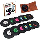 12 PCS Record Coasters for Drinks with Gift Box, Colorful Retro Vinyl Disk Coasters with Funny Labels, Prevent Furniture from Dirty and Scratched(4.2 Inch, Circle, Black)