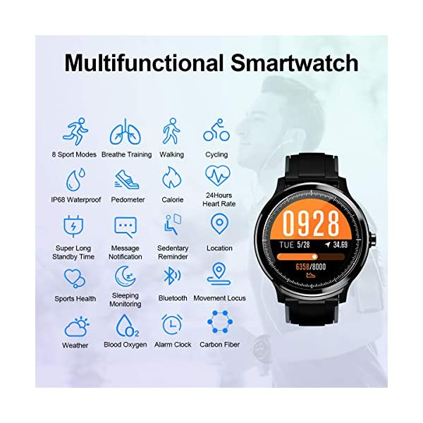 GOKOO Bluetooth Smartwatch Hombre Reloj Inteligente Fitness IP68 Impermeable Actividad Monitor Pulsómetro Compatible con… 5