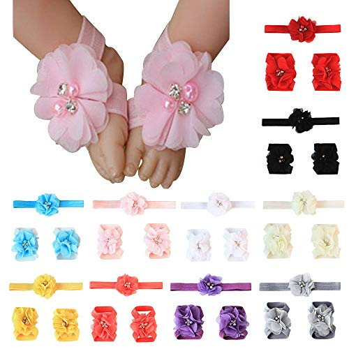 ZOCONE 10 Sets Flower Baby Headbands and Barefoot Sandals for Baby Girls Toddlers Elastic Chiffon Flower Headbands in 10 Colors