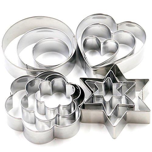TRIXES 12-teiliges Weihnachtsgebäckausstecher-Set aus Edelstahl - Sterne, Kreis, Herz und Blume - Keks-Ausstecher-Set - Perfekte Accessoires zum Weihnachtsbacken, i - Ideal als Geschenk