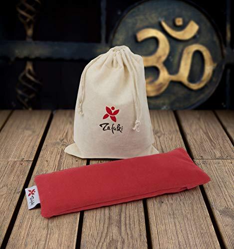 ZAFUKI Almohadilla Relajante para Ojos (22 x 8,5cm) - con saquito Tela para guardarlo - Ideal para la práctica de savasan en Yoga, Relleno de Semillas y Flor de Lavanda. (Rojo)