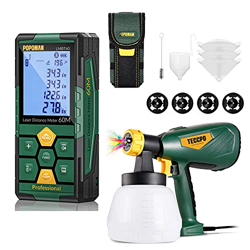 Paint Sprayer, TECCPO Up to 100DIN-s, 4 Nozzles 3 Sizes & 3 Spray Patterns, High Power HVLP Electric Paint Sprayer, 1300ml Container + Laser Distance Measure, Rechargeable with Bluetooth