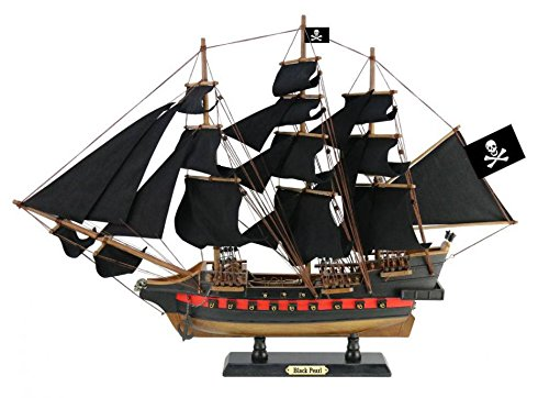 Handcrafted Nautical Decor Wooden Black Pearl Black Sails Limited Model Pirate Ship 26' - Decorative Boat