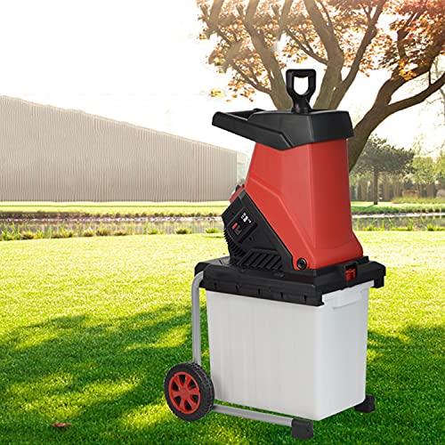 FASSTUREF Trituradora de Ramas eléctrica con Ruedas, trituradora de Hojas de jardín, trituradora de jardín de Alta Potencia de 2500 W, para Ramas, Tallos, Corteza, bambú, arbustos