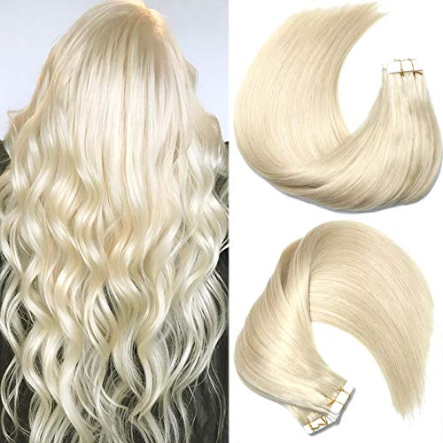 HUAYI Platinum Blonde 18inch 60# 50g 20Pcs/Pack Tape In Hair Extensions Human Hair Blonde Soft Tangle Free Shedding Free Hair Extensions Balayage Hair(60#18'')