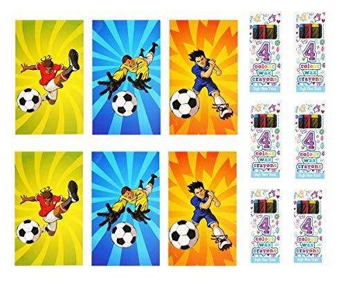 Kinparty - Libretas de Fútbol y cajitas de ceras - Material escolar - Para fiestas, cumpleaños y relleno de piñatas…