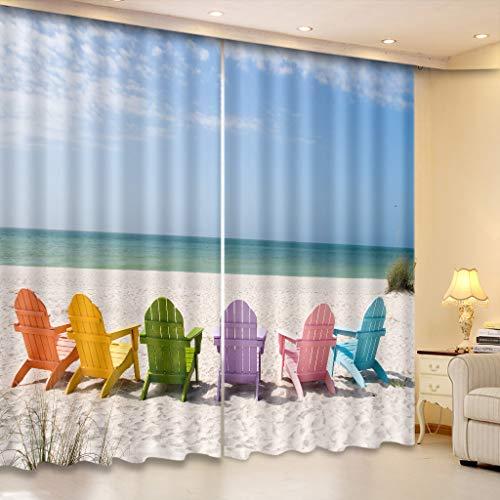 Cortinas Opacas - Impresión 3D Tumbona De Playa - Cortinas con Ojales - Reducción De Ruido De Aislamiento, 265(H) X200(An) Cmx2 Paneles/Set