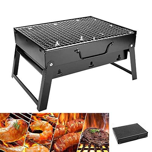 HE TUI Tragbarer Mini-Grill für Tischcamping im Freien Garten, Picknickgrill Klappgrill BBQ Grill Holzkohlegrill für 1-3 Personen