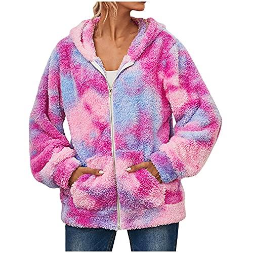 WAo Sudadera con capucha para mujer, estilo informal, de manga larga, con cremallera, con bolsillos, Hooded-Hot Pink, M